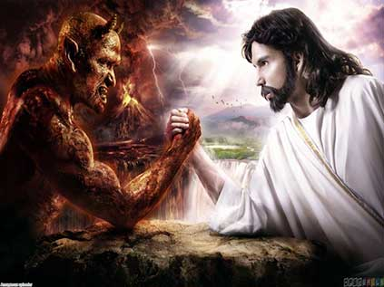 SATAN and JESUS Arm-Wrestle